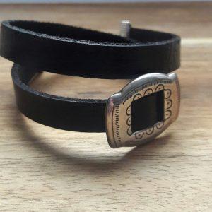 Zwart lederen choker or bracelet