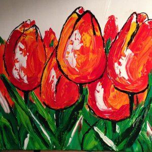 Schilderij Rode Tulpen 50 x 50 cm