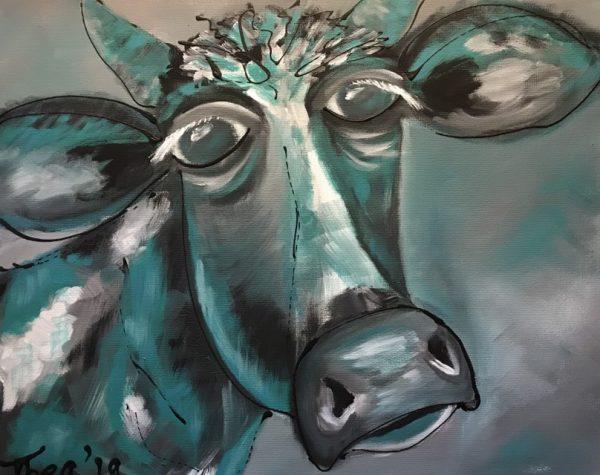 Schilderij gekke koe blauw