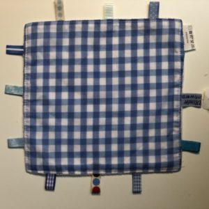 Labeldoekje, kraamcadeau, tutteldoekje blauw met grote ruit, witte achterkant