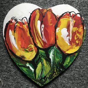 Hartje met tulpen