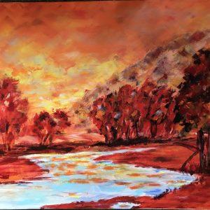 Oranje rivierlandschap