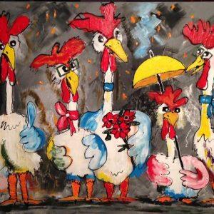 Vrolijke kippen grijs