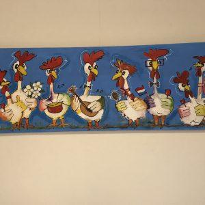 Een feestje met vrolijke kippen