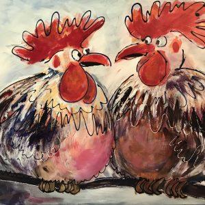 Kippen op stok donker