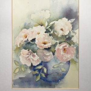 Aquarel: Rozen in de vaas