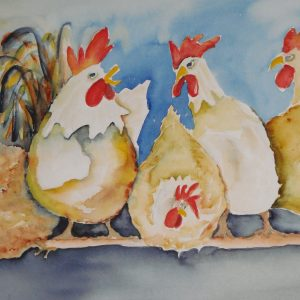 Kippen op stok aquarel
