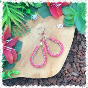 fensi jewelry boutique wirewrap earrings watermelon pink czech beads oorbellen sieraden fancy