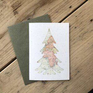 Kerstboom, spar kerstkaart