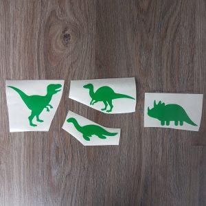 Set van 4 groene dino vinylstickers