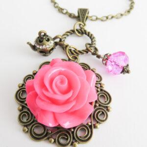 Ketting met roze roos