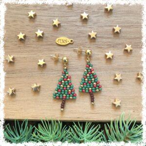 Shop Christmas earrings @ Fensi jewelry boutique. Handmade by fenneke Smouter fancy sieraden oorbellen fashionista miyuki beads