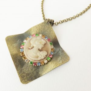 Vintage stijl camee ketting