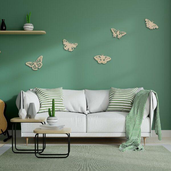 houten vlinders wanddecoratie