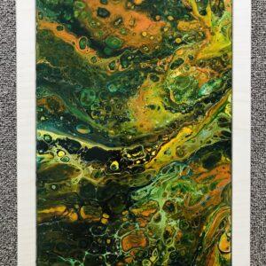Autumn pouring schilderij op tegel ingelijst in hout