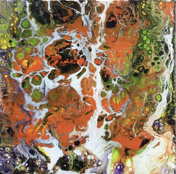 Oranje bellen op hout 30 x 30 cm