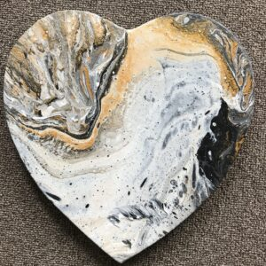 Gouden hart acrylschilderij 28 x 28 cm