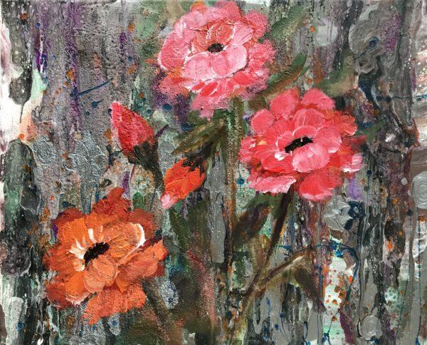 Roses acrylschilderijtje 30 x 24 cm
