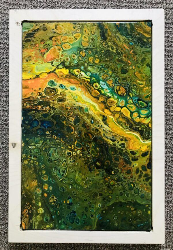 Spring pouring schilderij op keramische tegel