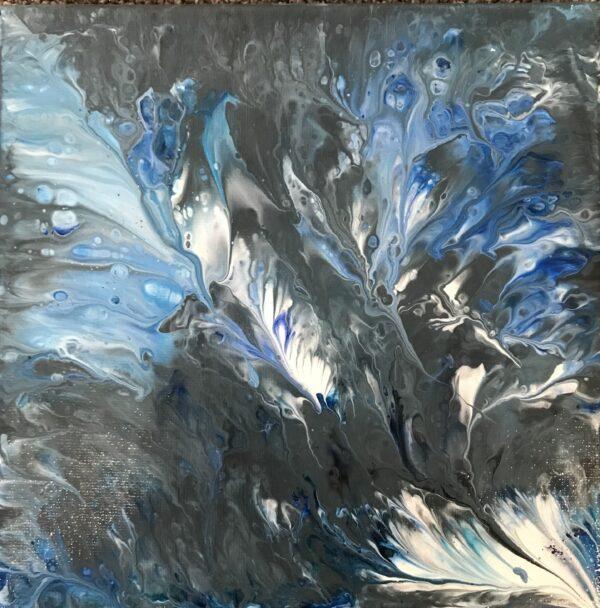 Veren blauw acrylschilderijtje 20 x 20 cm
