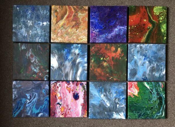 Combinatie pouringschilderij 20x 20 cm per stuk