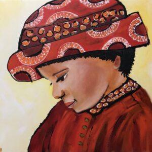 Meisje uit Colombia acrylschilderij 40 x 50 cm door Thea