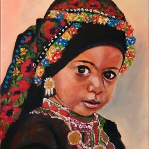 Meisje van Karpathos eiland acrylschilderij 40 x 30 cm door Thea