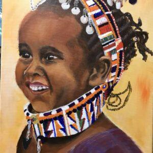 Meisje uit Kenia acrylschilderij 40 x 30 cm door Thea