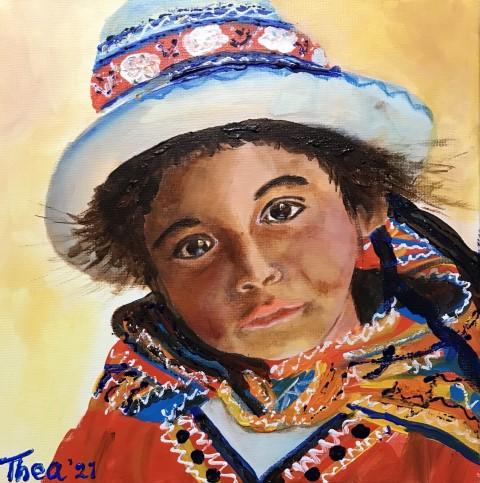 Meisje uit Peru acrylschilderij 40 x 30 cm door Thea
