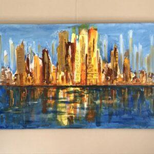 Stadsgezicht abstract acrylschilderij 115 x 75 cm