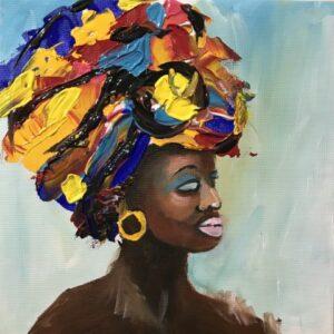 Zwarte vrouw acrylschilderij 30 x 30 cm