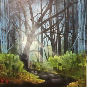Acrylschilderij bos 50 x 40 cm door Thea