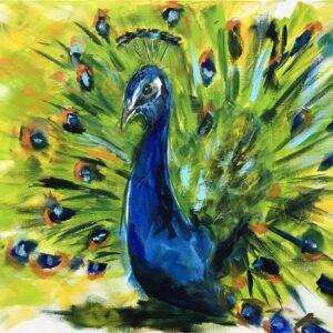 Pauw acrylschilderij 60 x 80 cm