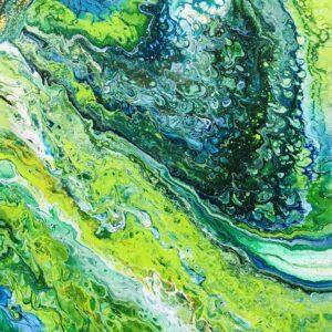 Green waves acrylschilderij 60 x 80 cm