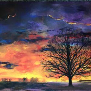 Zonsondergang acrylschilderij 80 x 60 cm
