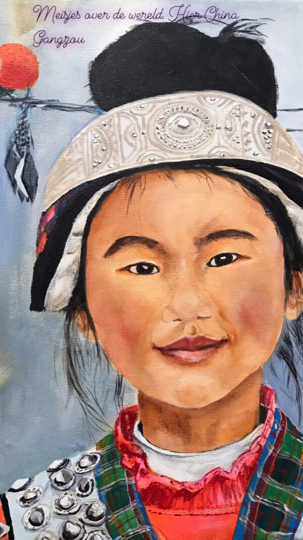 Meisje uit China Guizhou acrylschilderij 40 x 30 cm door thea