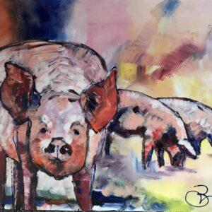 Het Helder varken arcrylschilderij 80 x 60 cm