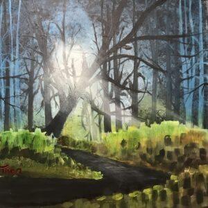 Acrylschilderij bos 50 x 50 cm door Thea