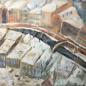 Abstract Utrecht acrylschilderij 60 x 80 cm door Thea
