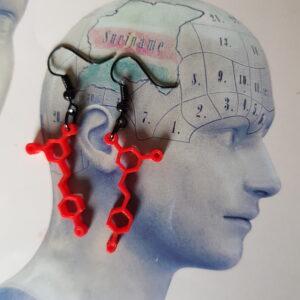 Rode wijn molecule oorbellen
