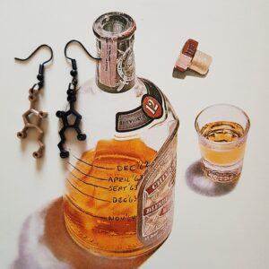 Whiskey molecule oorbellen