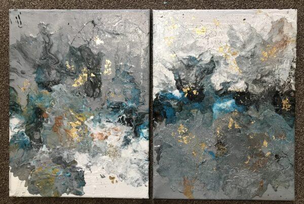 Tweeluik abstract met bladgoudstukjes2x 30 x 40 cm