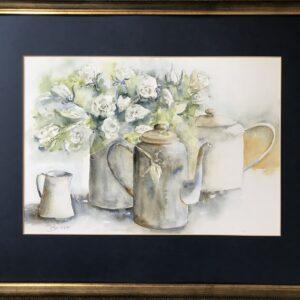 Aquarelschilderij witte rozen 60 x 80 cm